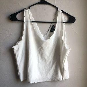 Scalloped White Topshop Tank